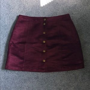 Burgundy Valore Button Up Skirt